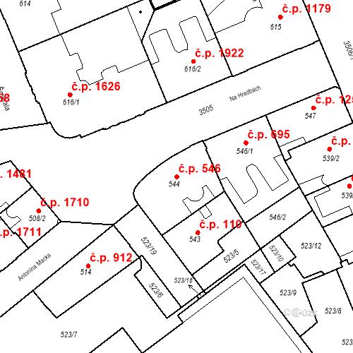 Katastrální mapa Stavební objekt Moravská Ostrava 546, Ostrava