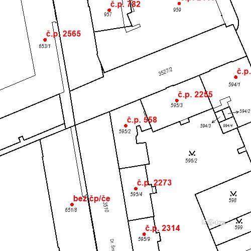 Katastrální mapa Stavební objekt Moravská Ostrava 558, Ostrava