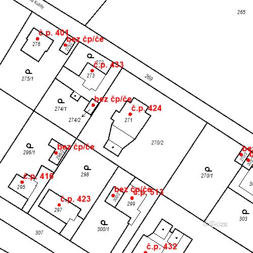 Katastrální mapa Stavební objekt Kunčice 424, Ostrava