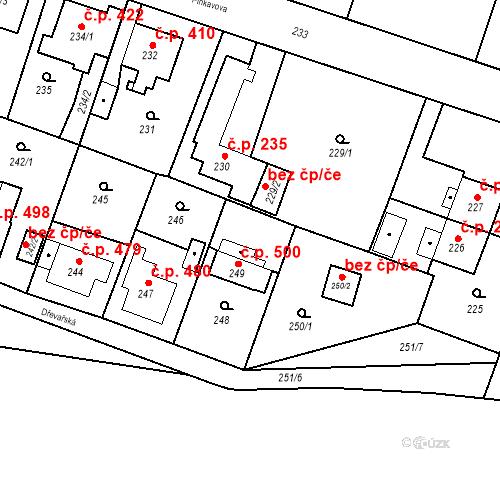 Katastrální mapa Stavební objekt Kunčice 500, Ostrava