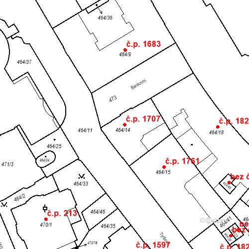 Katastrální mapa Stavební objekt Moravská Ostrava 1707, Ostrava