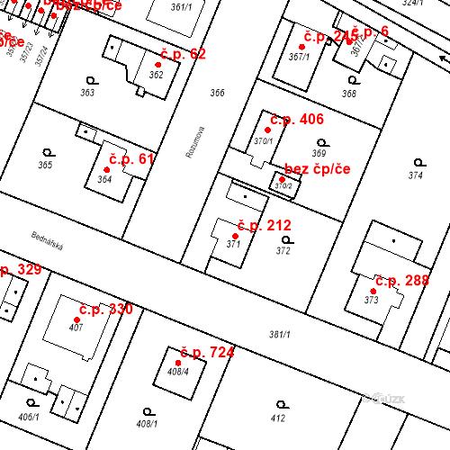 Katastrální mapa Stavební objekt Kunčice 212, Ostrava
