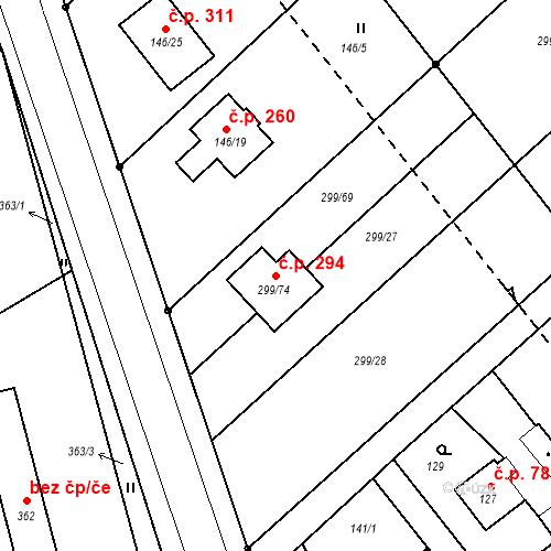 Katastrální mapa Stavební objekt Žabeň 294, Žabeň