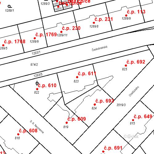 Katastrální mapa Stavební objekt Moravská Ostrava 611, Ostrava
