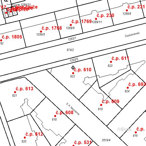 Katastrální mapa Stavební objekt Moravská Ostrava 610, Ostrava