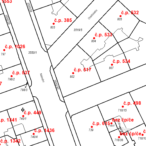 Katastrální mapa Stavební objekt Moravská Ostrava 617, Ostrava