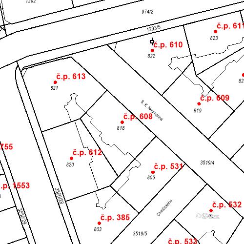 Katastrální mapa Stavební objekt Moravská Ostrava 608, Ostrava