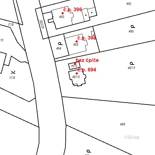 Katastrální mapa Stavební objekt Kunčice 694, Ostrava