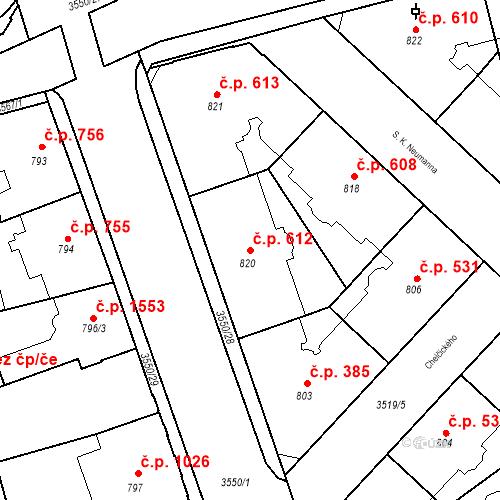 Katastrální mapa Stavební objekt Moravská Ostrava 612, Ostrava