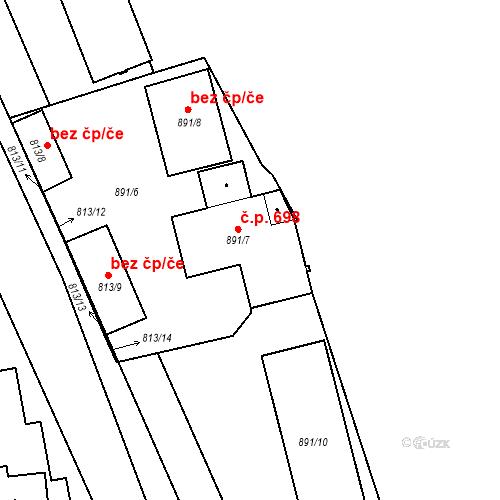 Katastrální mapa Stavební objekt Kunčice 698, Ostrava