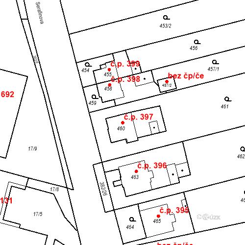 Katastrální mapa Stavební objekt Kunčice 397, Ostrava