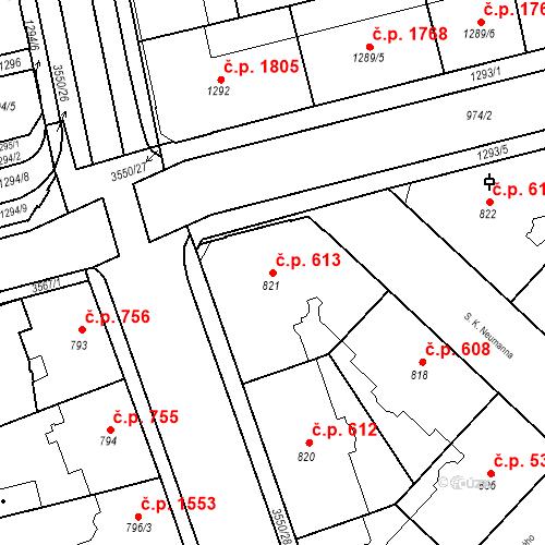 Katastrální mapa Stavební objekt Moravská Ostrava 613, Ostrava