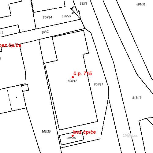 Katastrální mapa Stavební objekt Kunčice 715, Ostrava