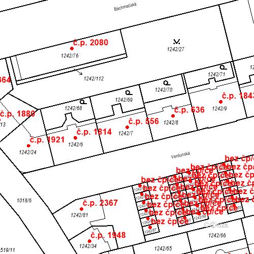 Katastrální mapa Stavební objekt Moravská Ostrava 556, Ostrava