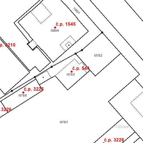 Katastrální mapa Stavební objekt Moravská Ostrava 544, Ostrava