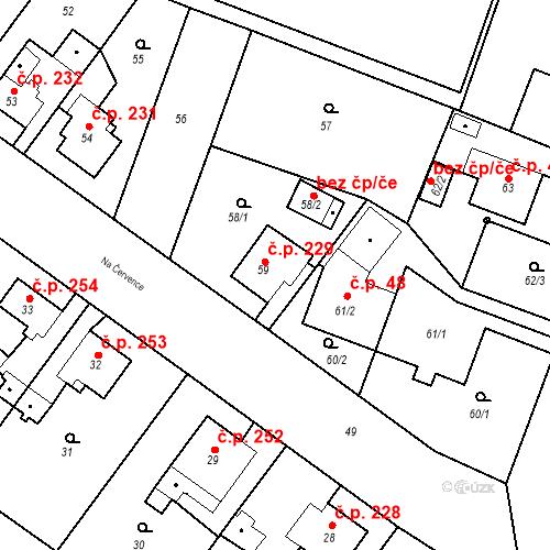 Katastrální mapa Stavební objekt Kunčice 229, Ostrava