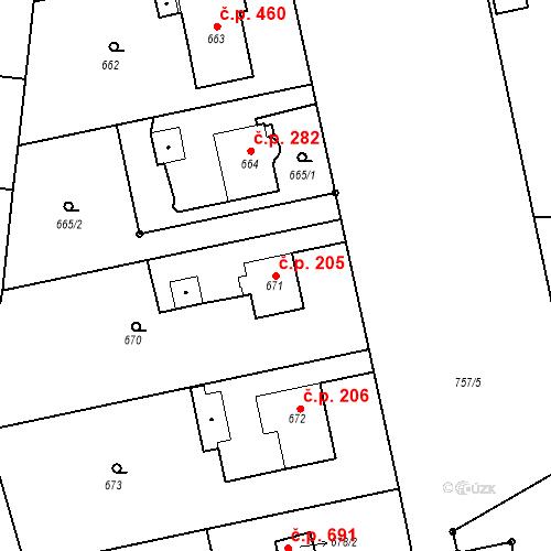 Katastrální mapa Stavební objekt Kunčice 205, Ostrava