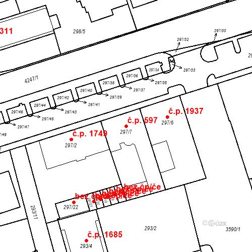 Katastrální mapa Stavební objekt Moravská Ostrava 597, Ostrava