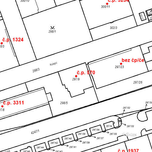 Katastrální mapa Stavební objekt Moravská Ostrava 570, Ostrava