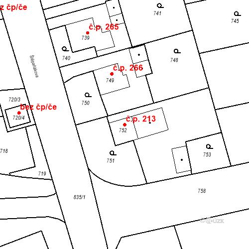 Katastrální mapa Stavební objekt Kunčice 213, Ostrava