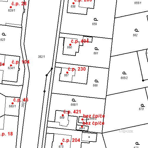 Katastrální mapa Stavební objekt Kunčice 230, Ostrava