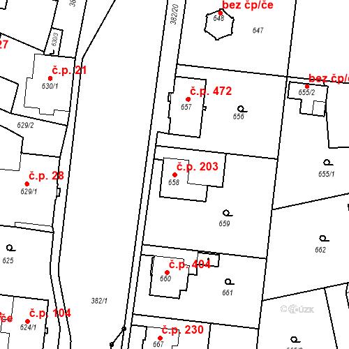 Katastrální mapa Stavební objekt Kunčice 203, Ostrava