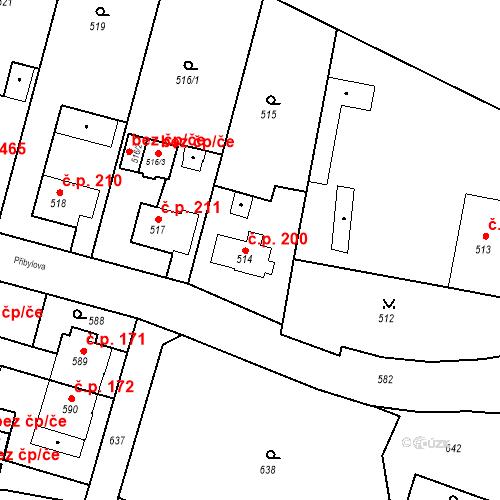 Katastrální mapa Stavební objekt Kunčice 200, Ostrava