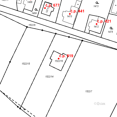 Katastrální mapa Stavební objekt Palkovice 819, Palkovice