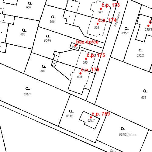 Katastrální mapa Stavební objekt Kunčice 176, Ostrava
