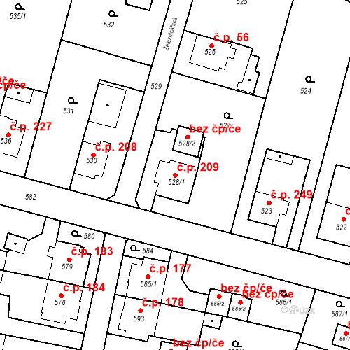 Katastrální mapa Stavební objekt Kunčice 209, Ostrava