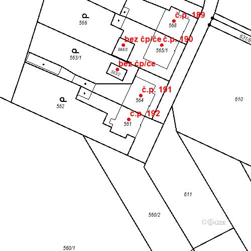 Katastrální mapa Stavební objekt Kunčice 192, Ostrava