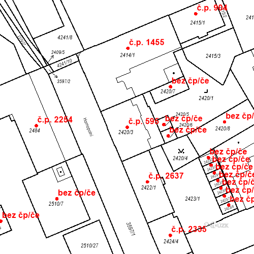 Katastrální mapa Stavební objekt Moravská Ostrava 595, Ostrava