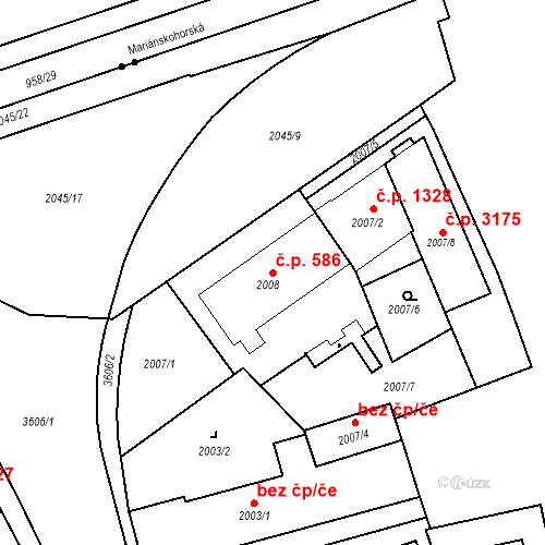 Katastrální mapa Stavební objekt Moravská Ostrava 586, Ostrava