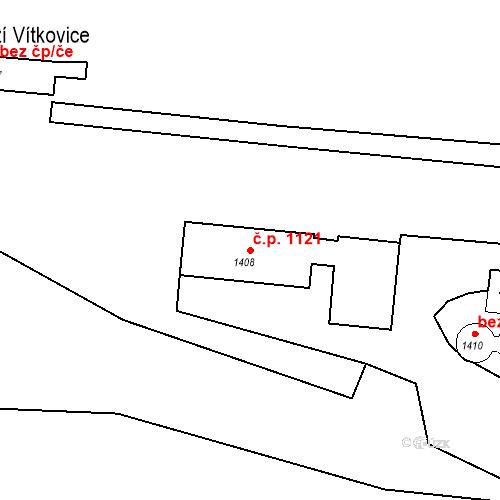 Katastrální mapa Stavební objekt Vítkovice 1121, Ostrava