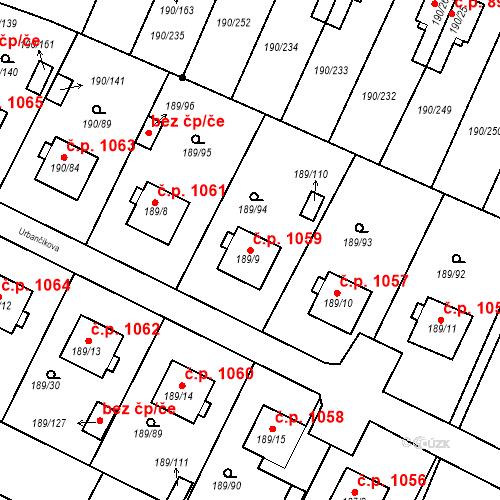 Katastrální mapa Stavební objekt Vítkovice 1059, Ostrava