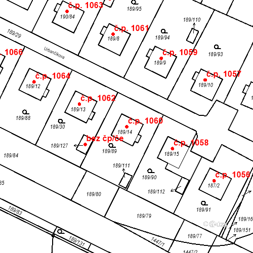 Katastrální mapa Stavební objekt Vítkovice 1060, Ostrava