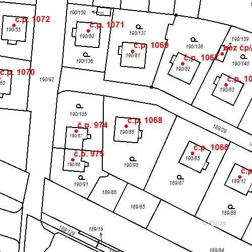 Katastrální mapa Stavební objekt Vítkovice 1068, Ostrava