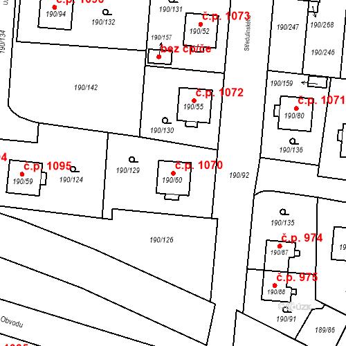 Katastrální mapa Stavební objekt Vítkovice 1070, Ostrava