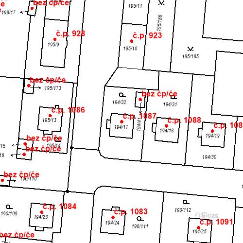 Katastrální mapa Stavební objekt Vítkovice 1087, Ostrava