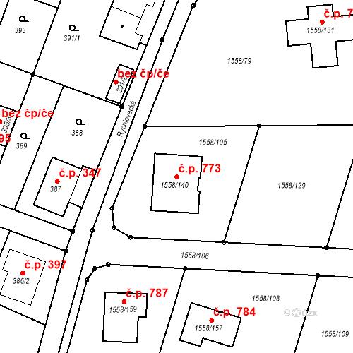 Katastrální mapa Stavební objekt Hať 773, Hať