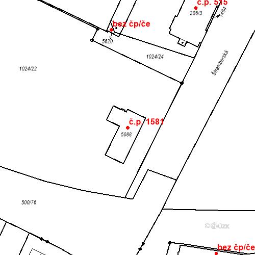 Katastrální mapa Stavební objekt Hulváky 1581, Ostrava