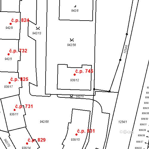 Katastrální mapa Stavební objekt Vítkovice 745, Ostrava