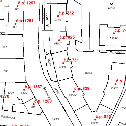 Katastrální mapa Stavební objekt Vítkovice 731, Ostrava