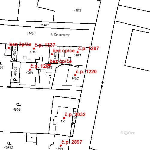 Katastrální mapa Stavební objekt Vítkovice 1220, Ostrava