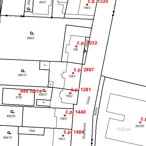 Katastrální mapa Stavební objekt Vítkovice 2897, Ostrava