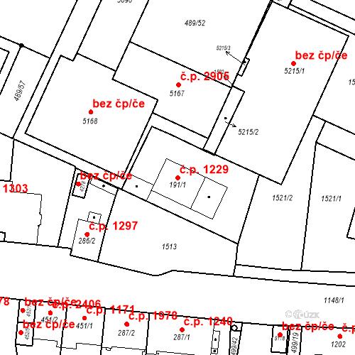 Katastrální mapa Stavební objekt Vítkovice 1229, Ostrava