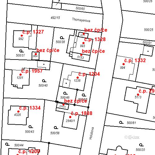 Katastrální mapa Stavební objekt Vítkovice 1204, Ostrava