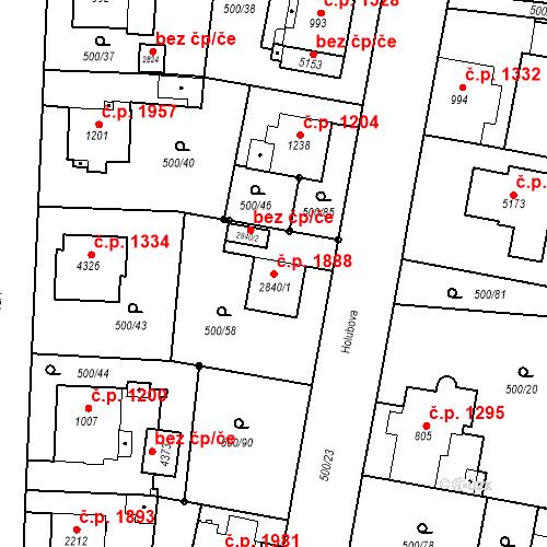 Katastrální mapa Stavební objekt Vítkovice 1888, Ostrava