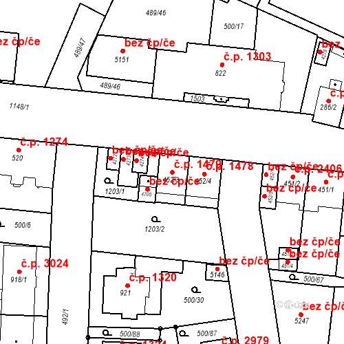 Katastrální mapa Stavební objekt Vítkovice 1479, Ostrava