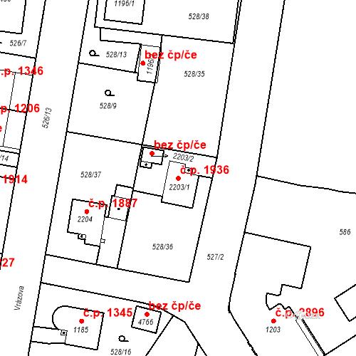 Katastrální mapa Stavební objekt Vítkovice 1936, Ostrava